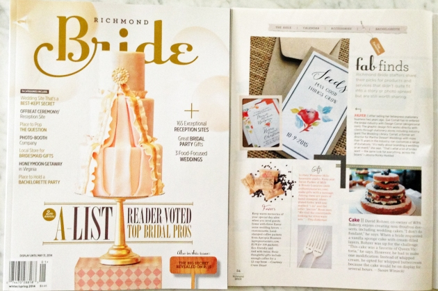 Richmond Bride Magazine, Spring 2014